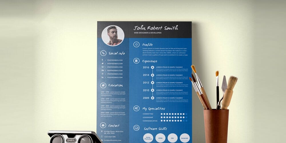 Creative and Professional Resume CV Template PSD