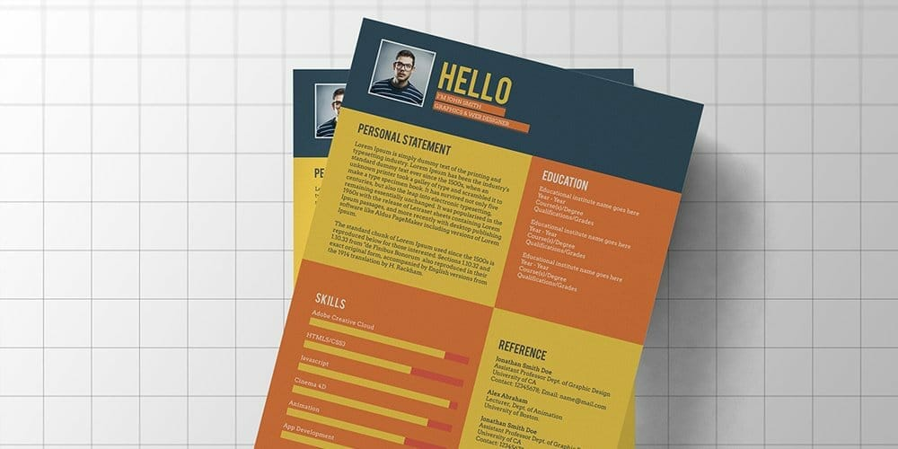 Flat Style Resume Template PSD
