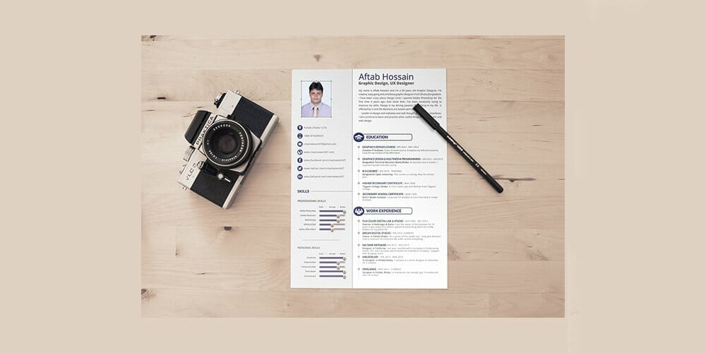 Free 2 page Resume Template PSD