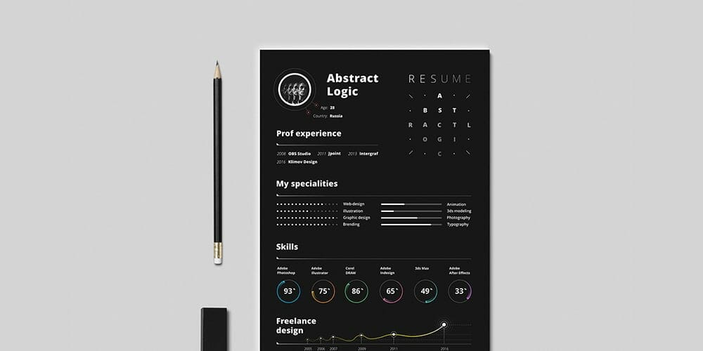Free Abstract Resume Template For Designers