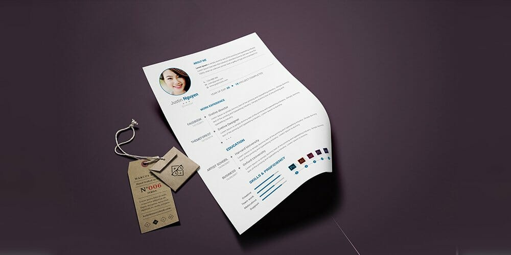 Free Clean Simple Resume Template PSD