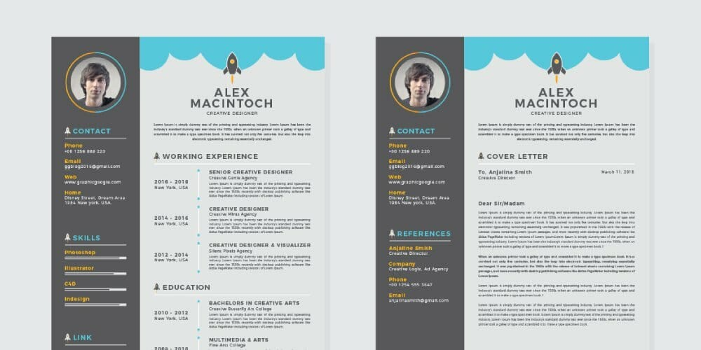 Free-Creative-CV-Resume-Design-Template-With-Cover-Letter