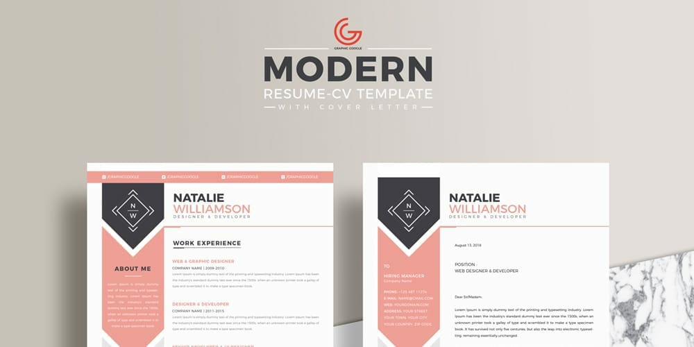 Free Modern Resume CV Template For Designers and Developers