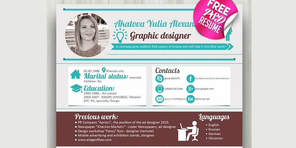 Free Resume Template PSD for Designers