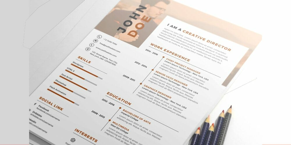 Nice and Clean Resume CV Template PSD