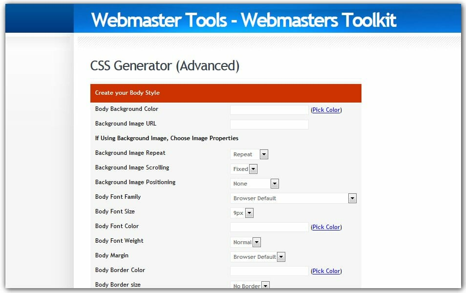 The ultimate collection of 500 css generators css author css generator webmaster tools malvernweather Image collections