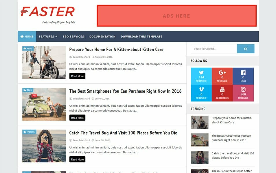 Faster Fast Loading Blogger Template