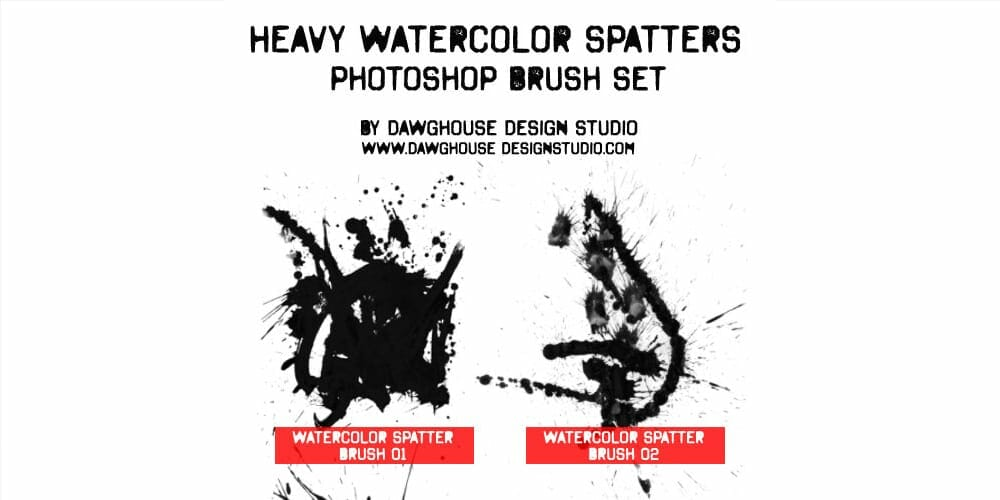Free High-Res Heavy Watercolor Spatter Photoshop Brushes