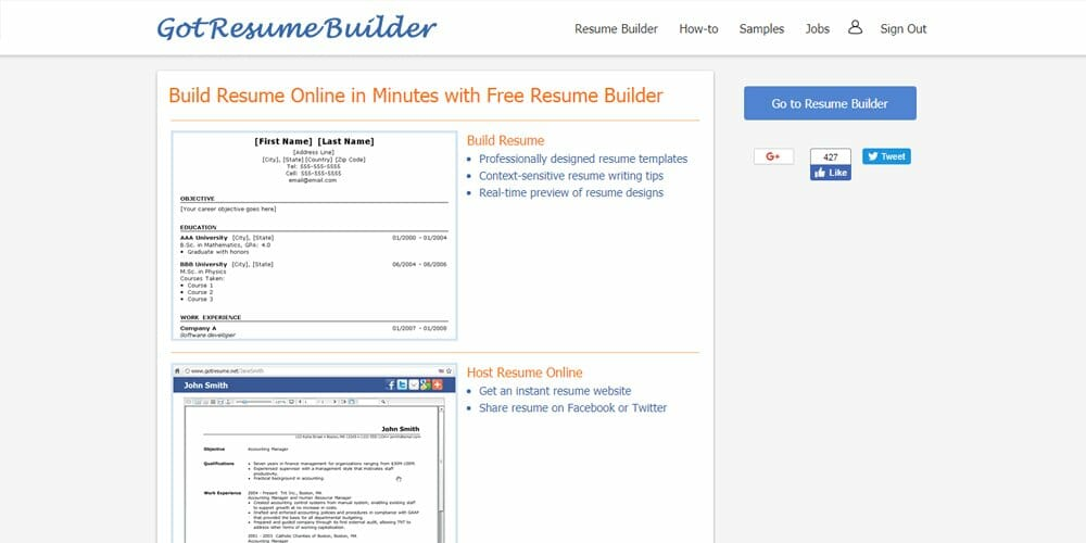 Got Resume Builder