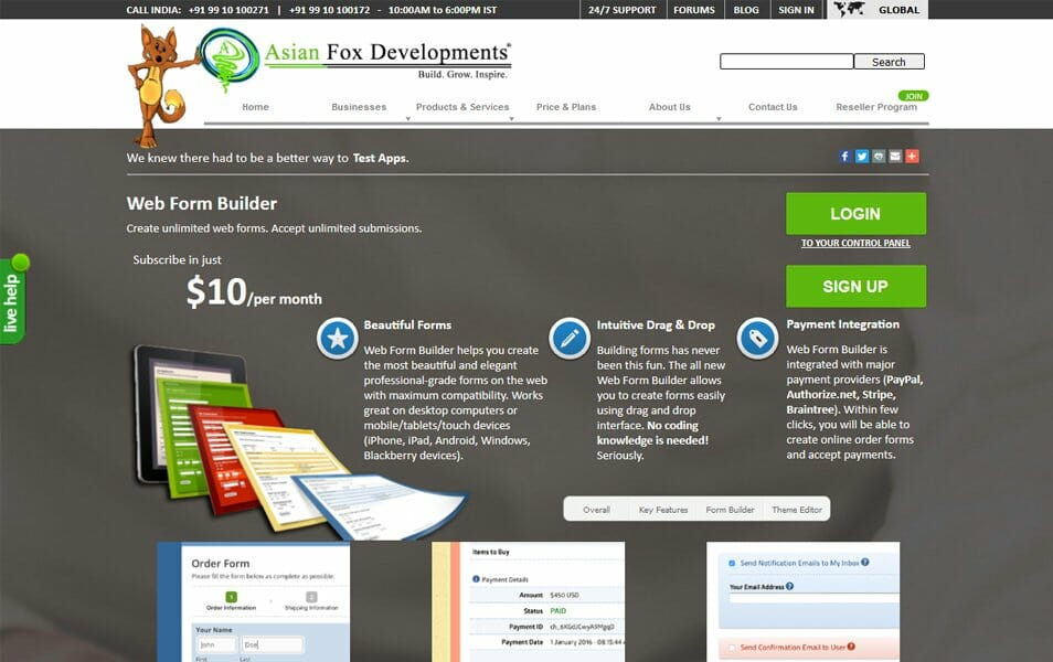 Web Form Builder | Asian Fox Developments