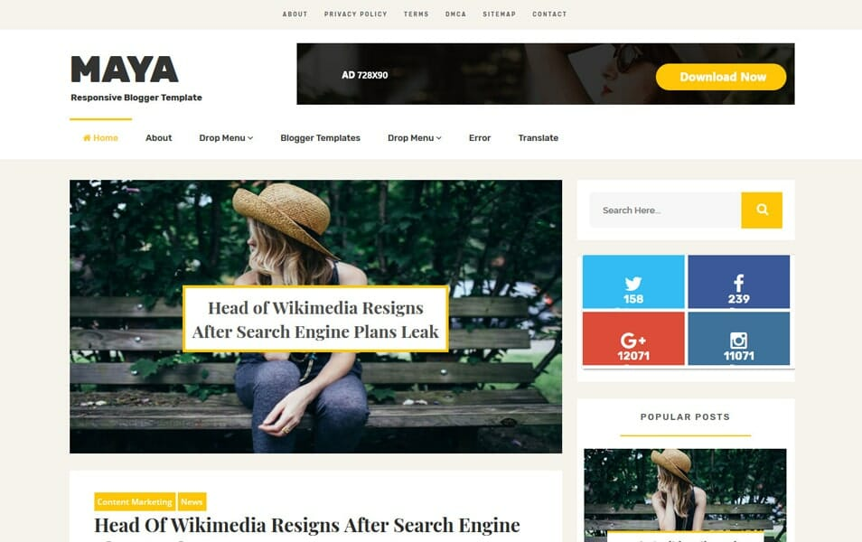 Maya Responsive Blogger Template