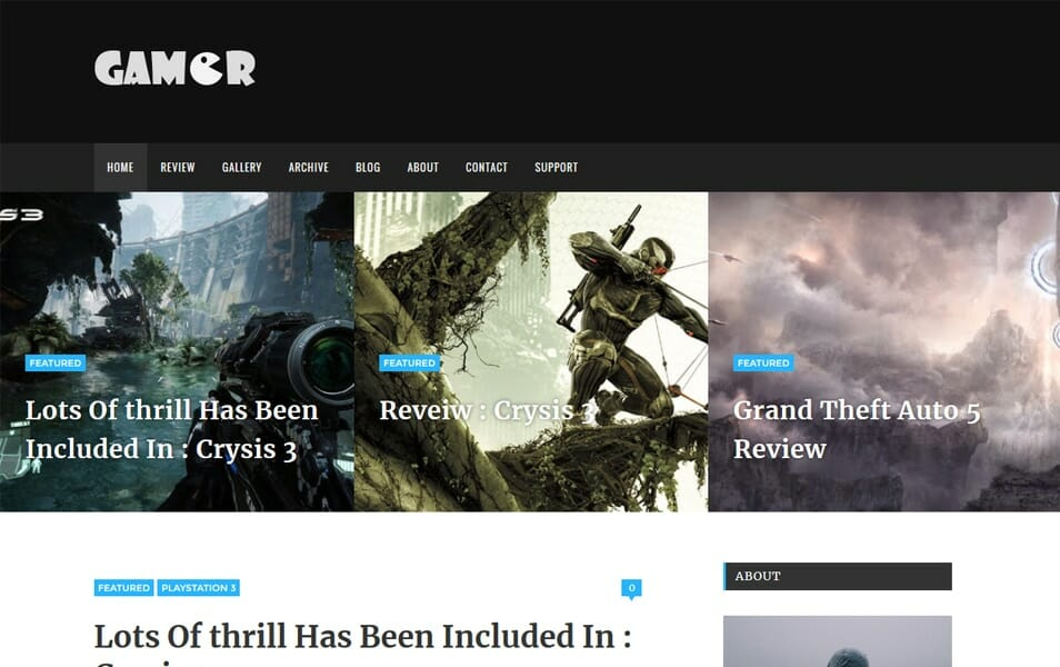 Gamer Responsive Blogger Template