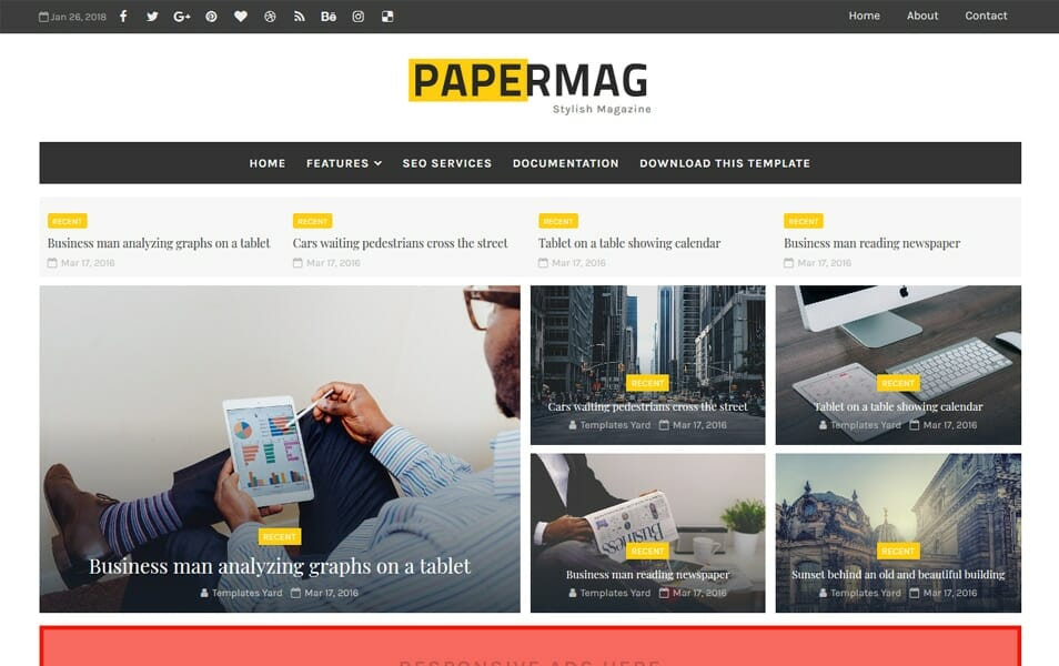 300 best free responsive blogger templates 2018 css author papermag stylish magazine blogger template fbccfo Image collections