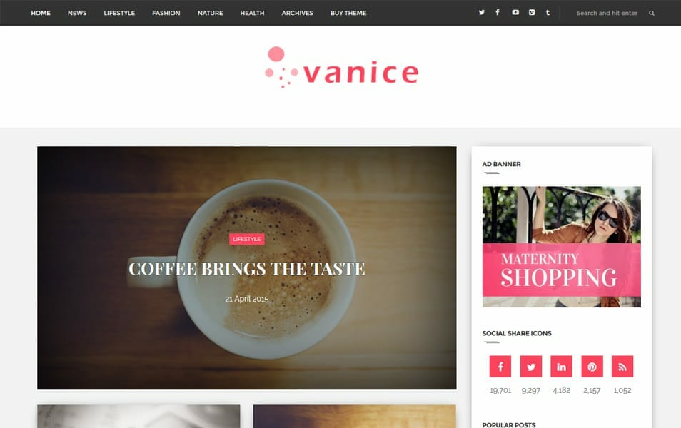 Vanice Responsive Blogger Template