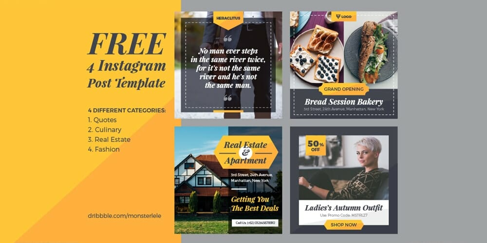 Free Instagram Post Template PSD