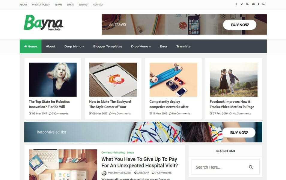 Bayna Responsive Blog Style Blogger Template