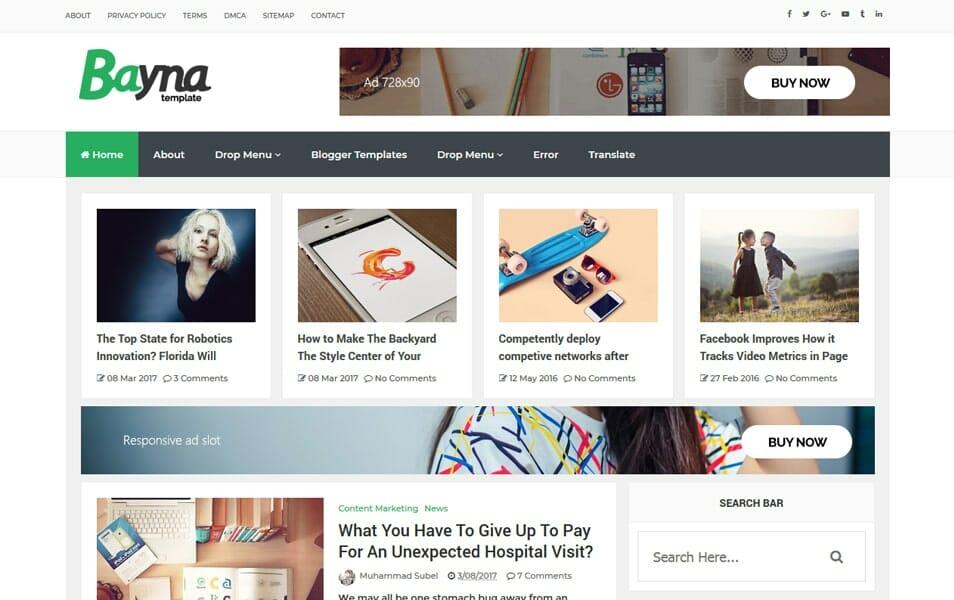 Bayna Responsive Blog Style Blogger Template