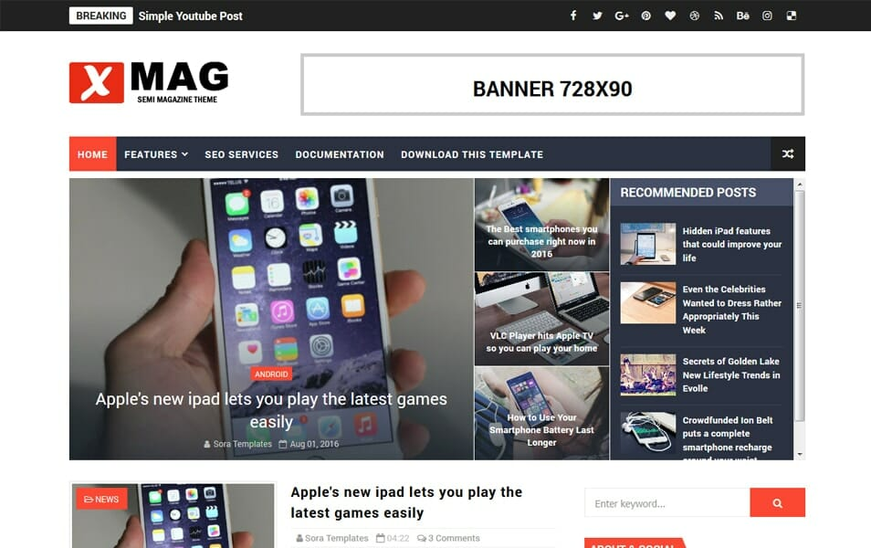X-Mag Responsive Blogger Template