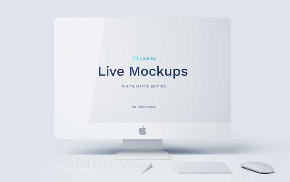 8 White Matte Apple Devices Mockups