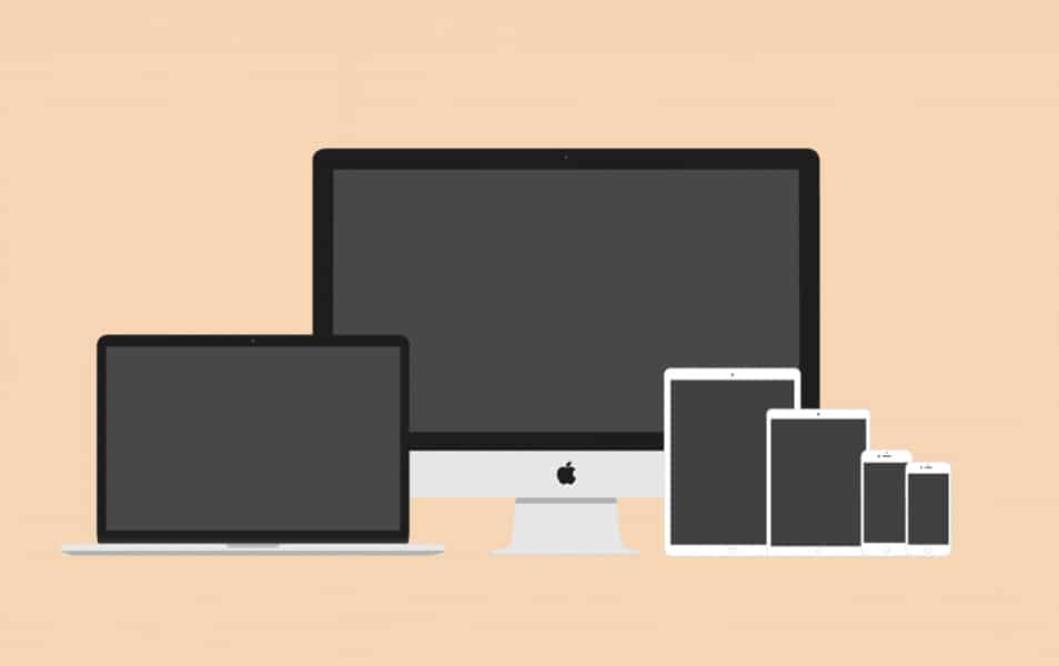 Flat 2D Apple Devices Mockup Pack