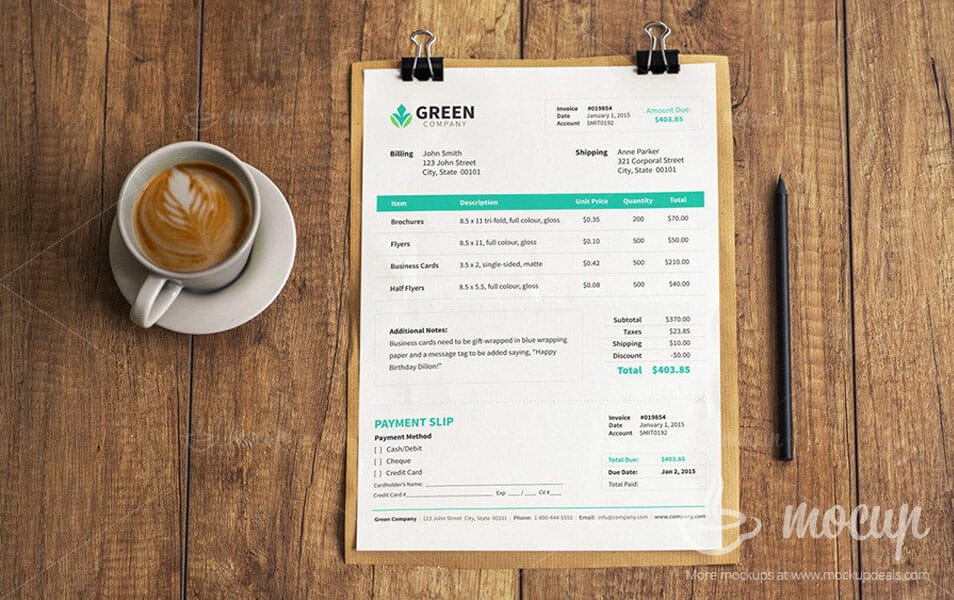 Free Invoice PSD Mockup template