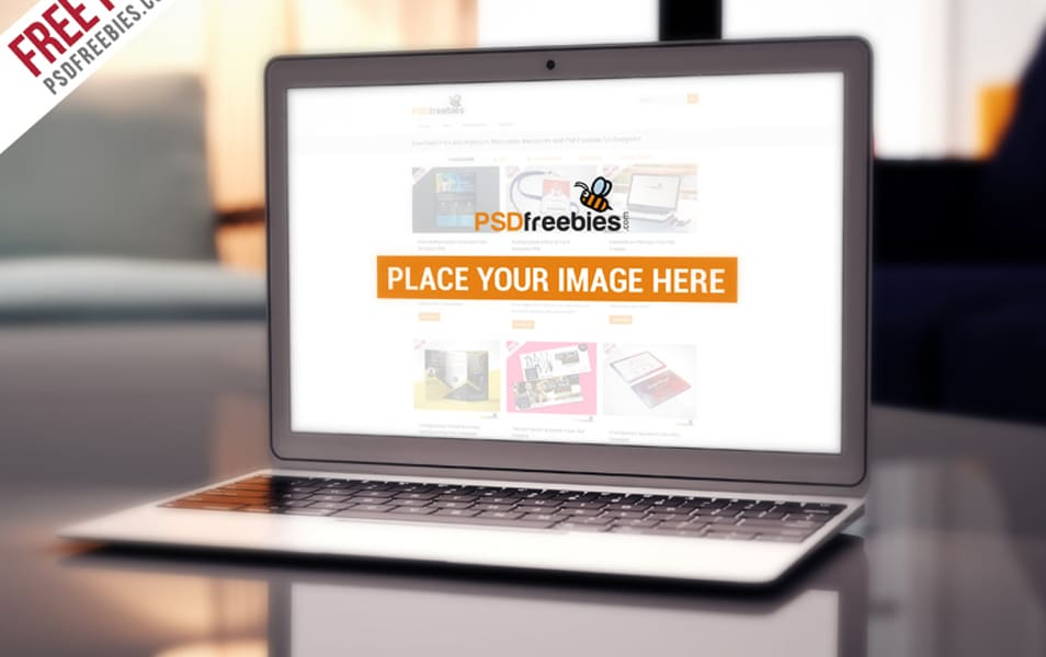 MacBook Air Free PSD Mockup Template