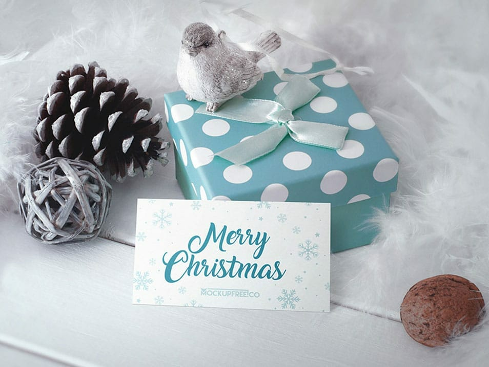 Business Card in Christmas Scenery Mockup
