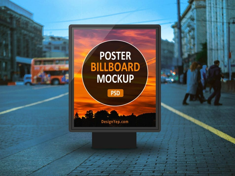Free Outdoor Poster Billboard Mockup PSD
