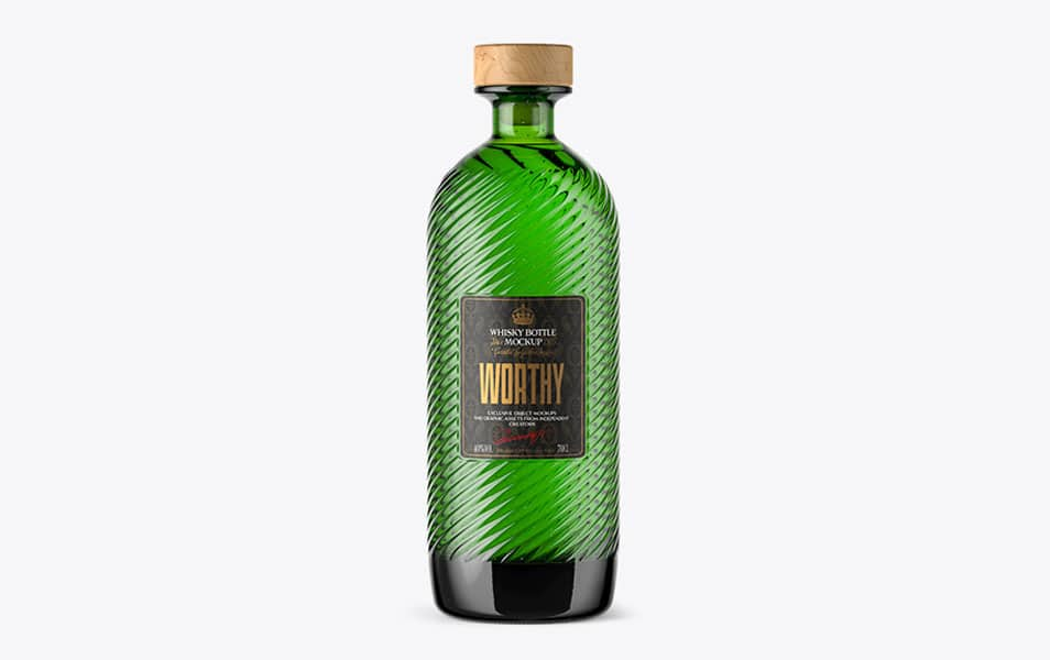Green Bottle with Wooden Cap Free Mockup