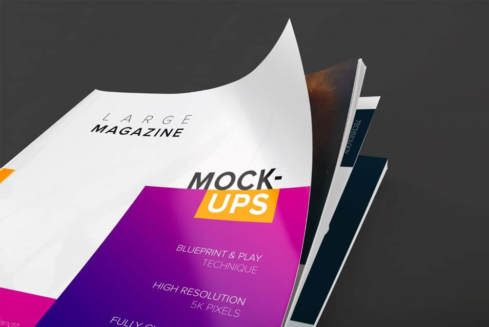 Large Magazine Cover Close Up View Mockup