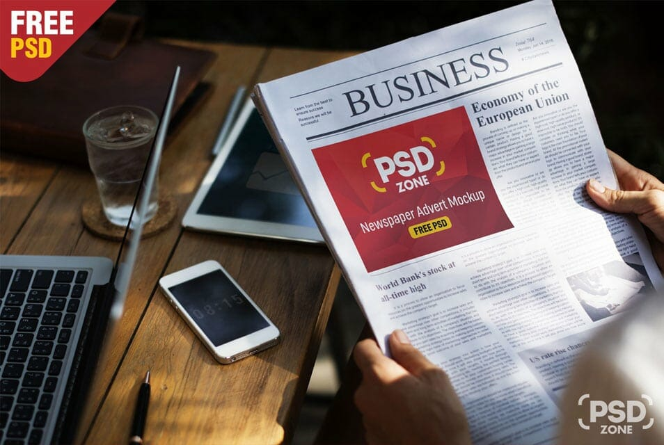 Newspaper Advert Mockup Free PSD
