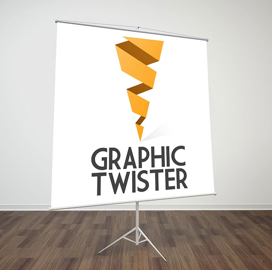 Paper Flip Chart Stand Mockup Right Side