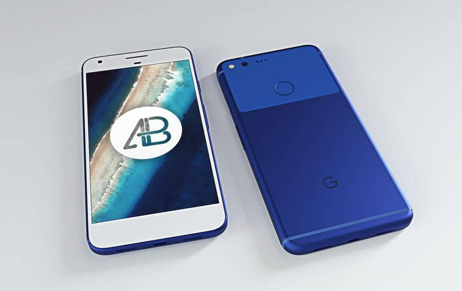 Realistic Really Blue Google Pixel XL Mockup