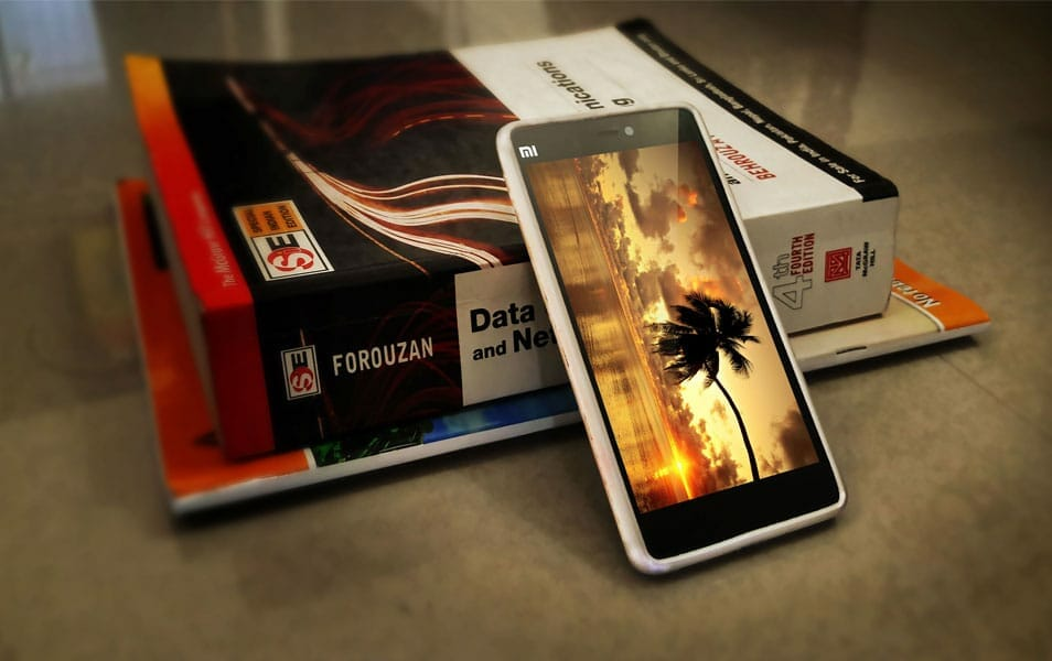 Realistic Xiaomi MI4i with Book Mockup