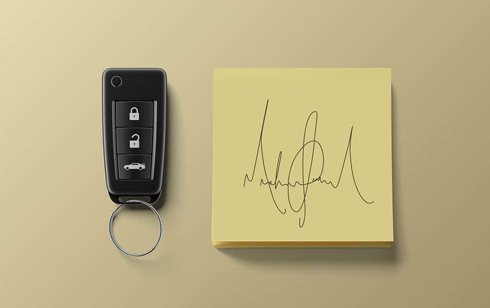 Sticky Notes with Carkeys Free Mockup