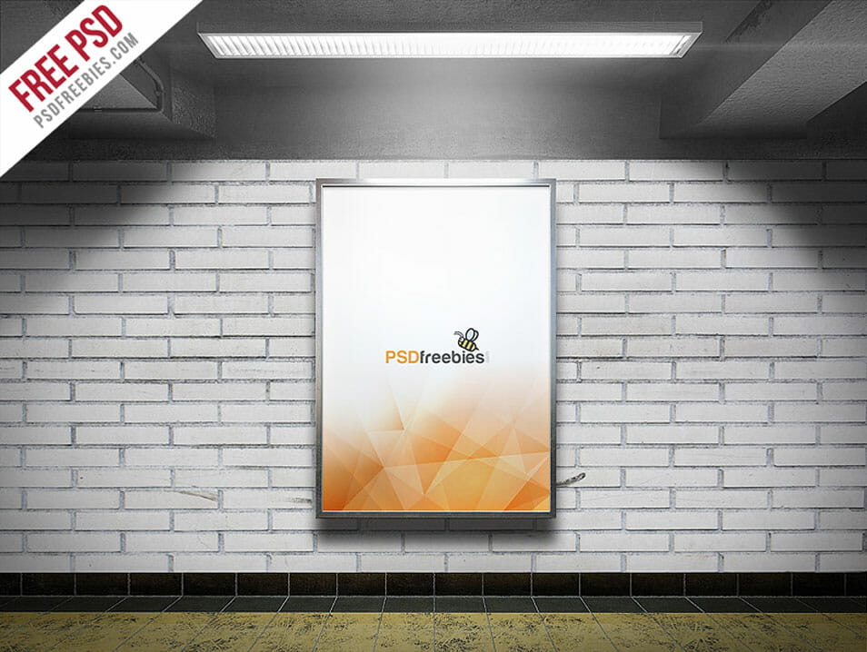 Subway Advertising Billboard Mockup Free PSD