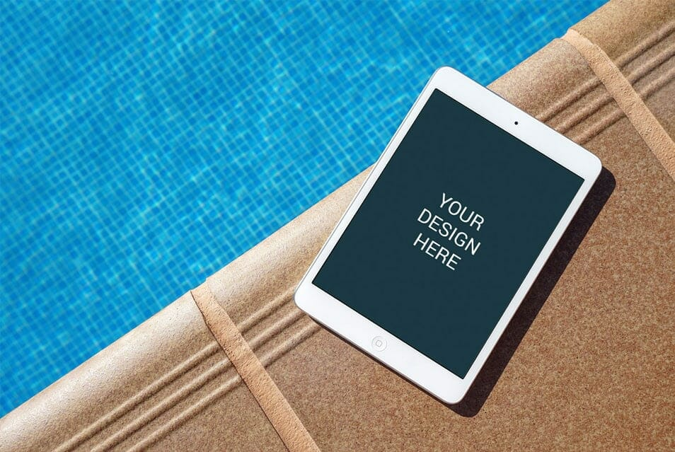 iPad Near Pool Mockup