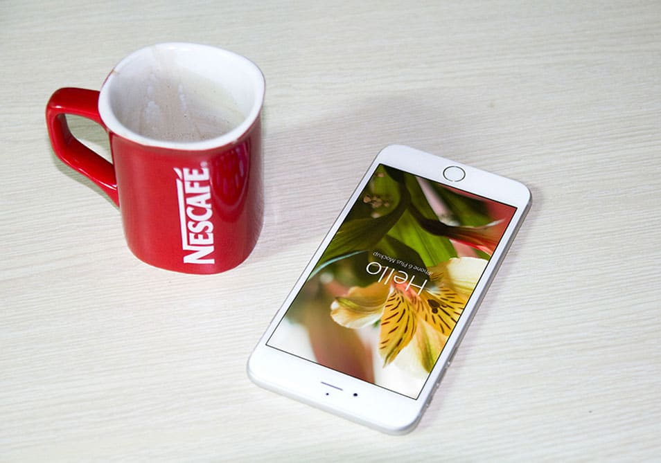 iPhone 6 PSD Mock-Ups Template and Coffee Cup