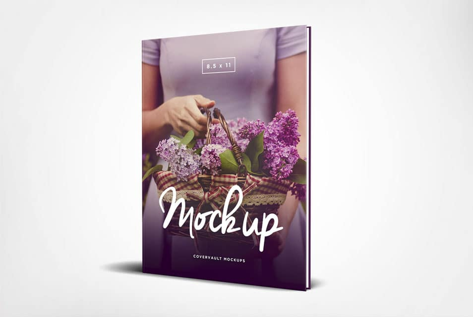 8.5 x 11 Standing Hardcover Book Mockup