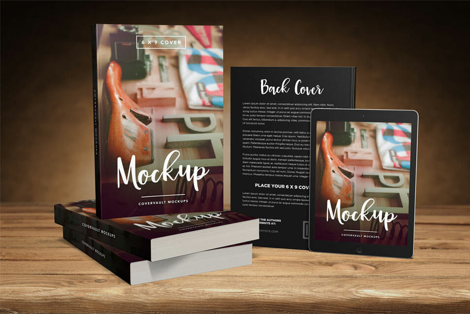 Big 6 x 9 Book Promo Mockup with Tablet