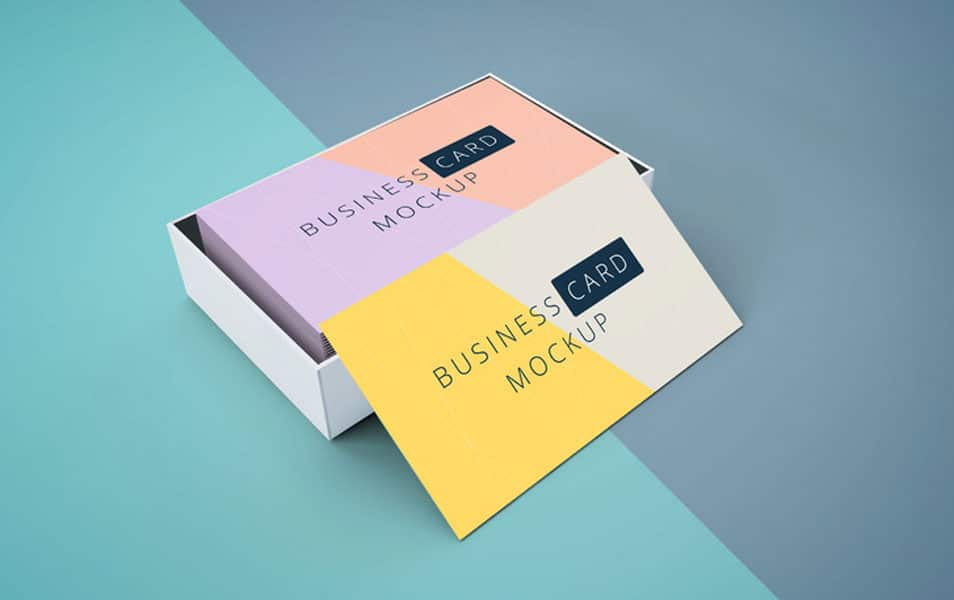 Business Card Mockup In Cardboard Box