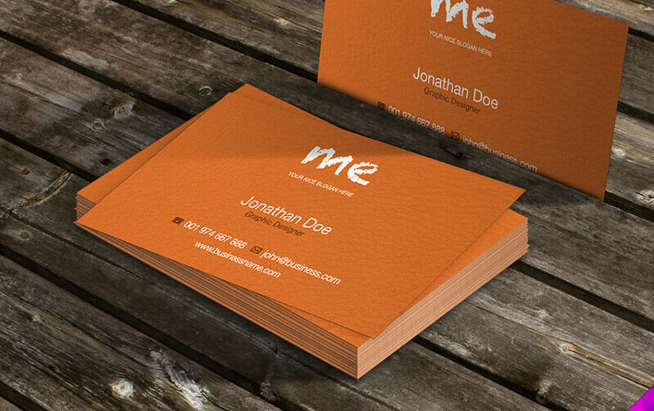 Business Cards on Table Mockup
