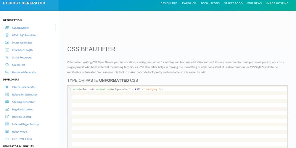 E10Host CSS Beautifier