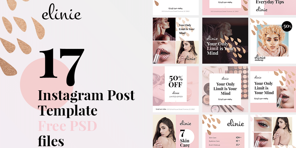 Elinie Beauty Instagram Post Template PSD