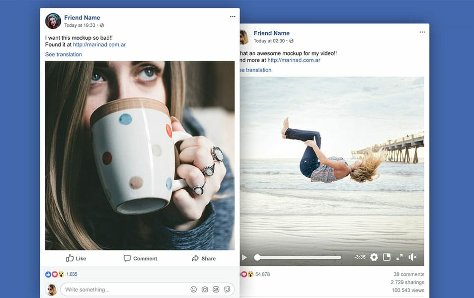 FREE Facebook Post Mockup PSD