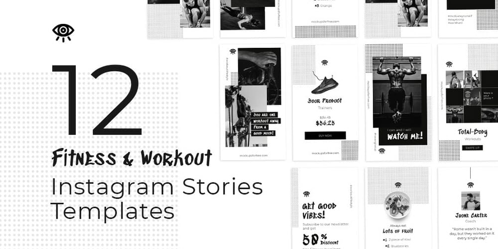 Fitness and Workout Instagram Stories Template PSD