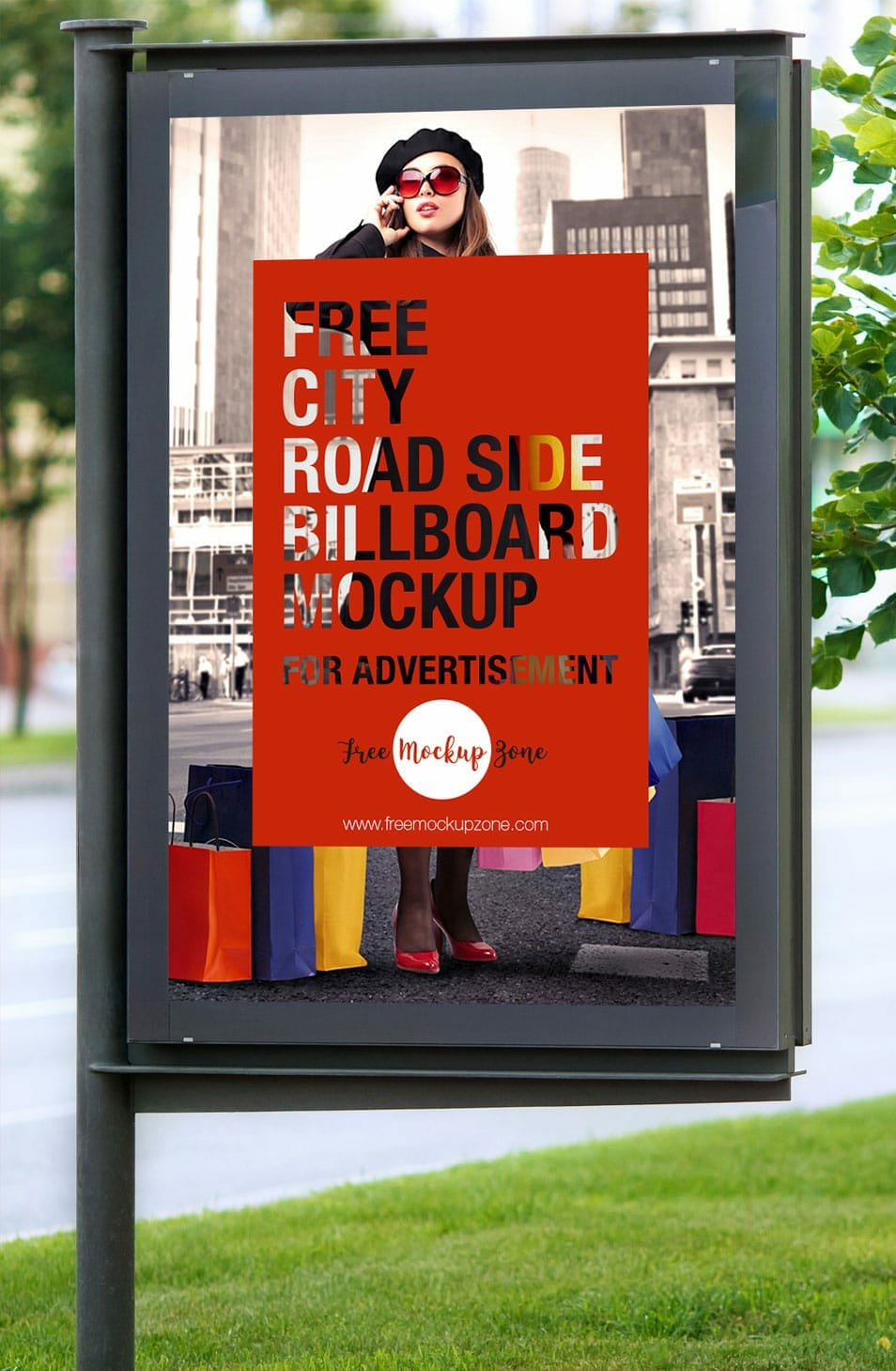 Free City Road Side Billboard Mockup