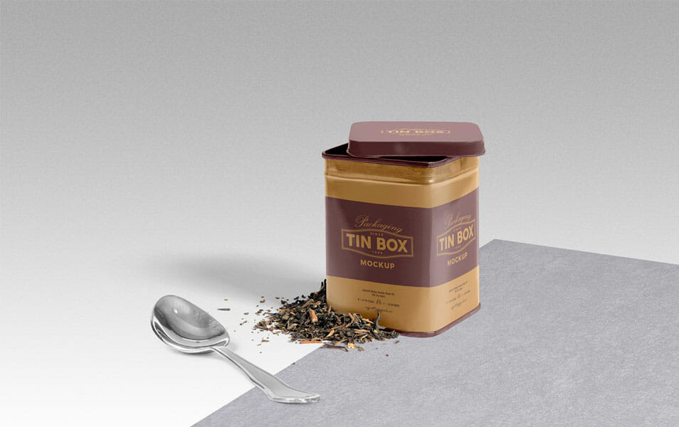 Free Cool Packaging Tin Box Mockup PSD