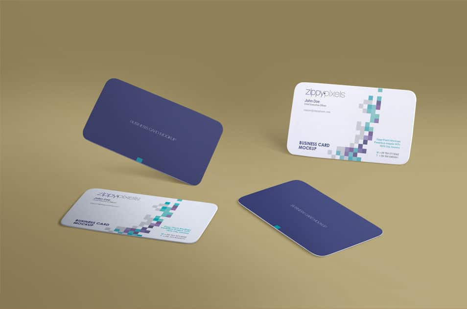 Free Gravity Business Card Mockup With Infinite Arrangement Options