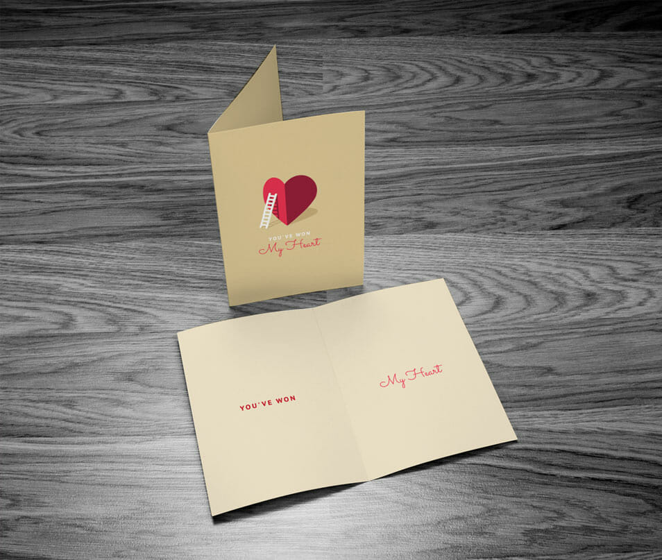 Free Greeting Card Mock-up with Wooden Background